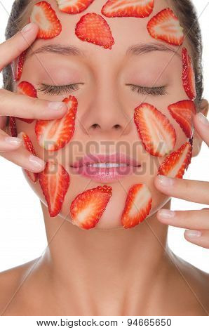 Beautiful Woman With Mask Of Strawberries