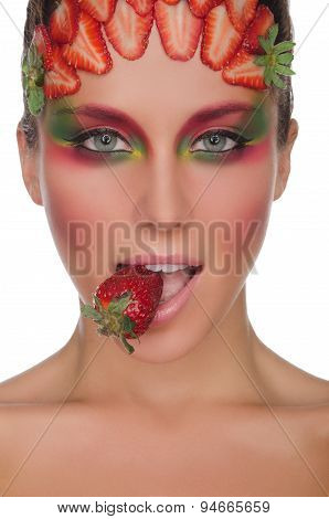 Beautiful Woman, Strawberries On Face And Teeth