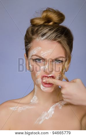 Woman In Toothpaste On Body Cleans Finger Teeth