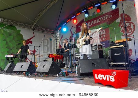 MOSCOW - JUNE 20: OQJAV group performs at XII International Jazz Festival