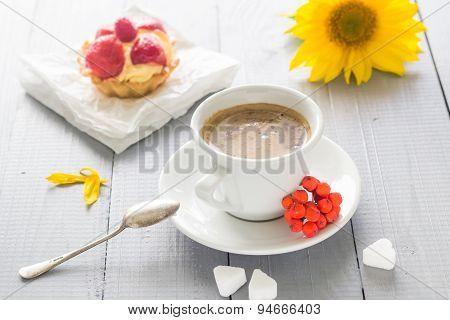 Coffee Cup Milk Sweet Dessert Cake Strawberries Sunflower Rowan