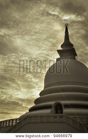 Japanese peace pagoda, Unawatuna Sri Lanka monochromatic