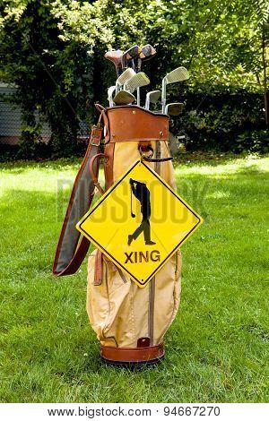 Golfer Crossing