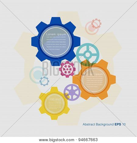 Colorful Gears On Grey Background, Vector Illustration