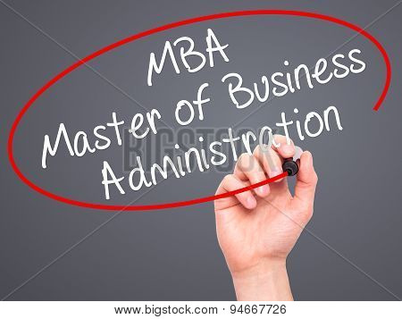 Man Hand writing MBA - Master of Business Administration with black marker on visual screen.