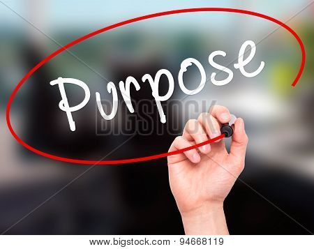 Man Hand writing Purpose with black marker on visual screen.