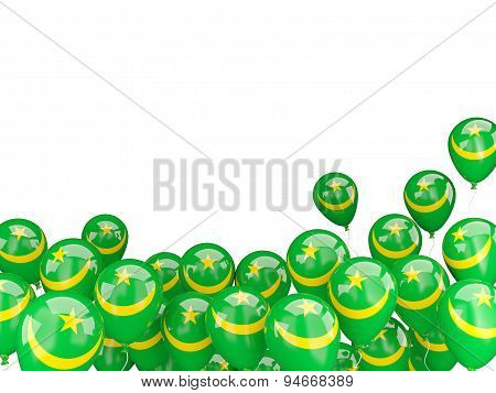 Flying Balloons With Flag Of Mauritania