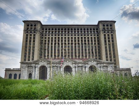 Michigan Central Station With Weeds