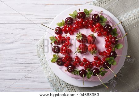 Cake With Red Ripe Berries Horizontal Top View Close-up