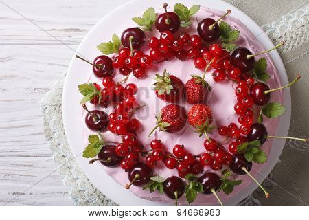 Cake With Cherries, Currants And Strawberries Close-up