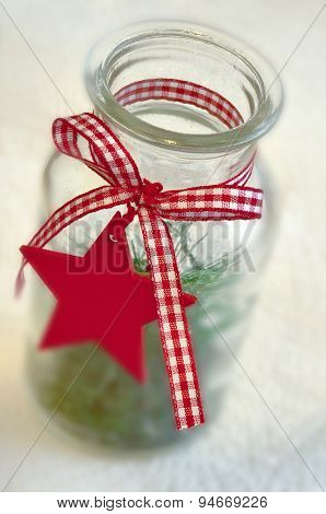 Christmas star on a decorative bottle