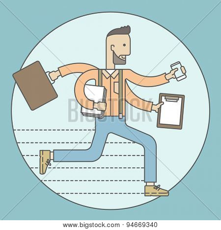 The man with a beard doing a lot of things at the same time. The multitasking concept. Vector flat design Illustration.