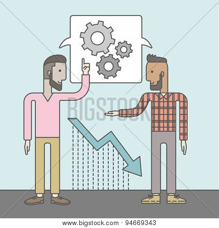Two businessmen with beards working and planning things together. Business idea concept. Vector flat design Illustration.