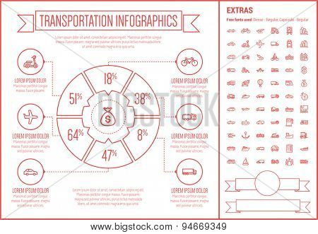 Transportation infographic template and elements. The template includes the following set of icons - bus, helicopter, taxi, vessel, towing truck, van, hot air balloon  and more. Modern minimalistic