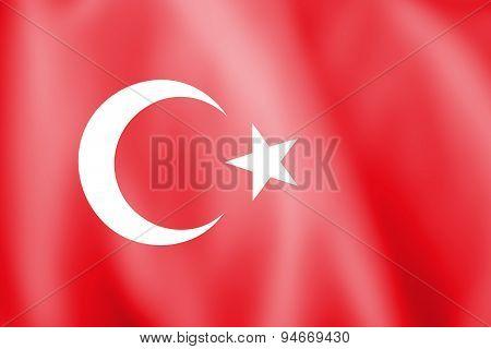 Waving Colorful Turkish Flag