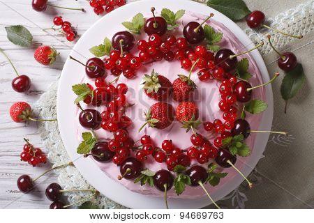 Beautiful Cake With Fresh Berries Horizontal Top View