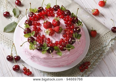 Pink Cake With Fresh Berries On A Plate Close-up. Horizontal
