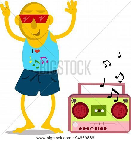 Man with cassette player