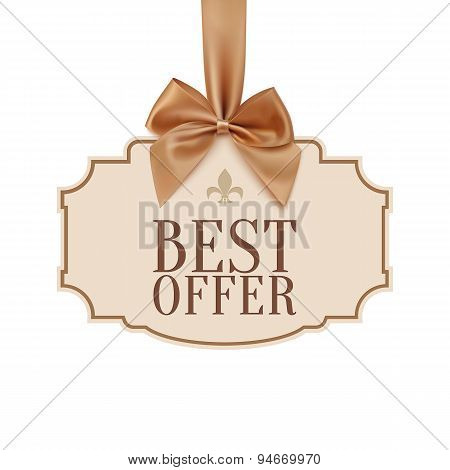Best offer banner with golden ribbon.