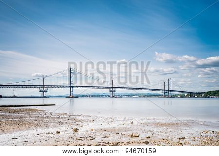 Forth Road Bridge At Low Tide