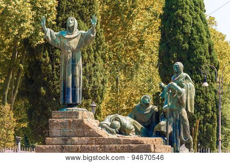 Statue Of St Francis Of Assisi In Rome, Italy.