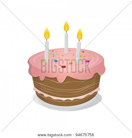 isolated birthday cake illustration