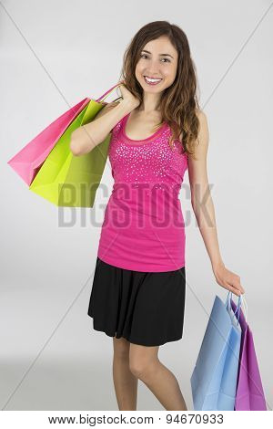 Happy Shopping Woman With Paper Bags