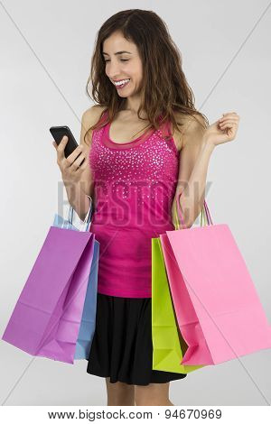 Shopping Woman With A Smart Phone