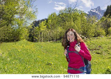 Woman Hiking In Beautiful Nature