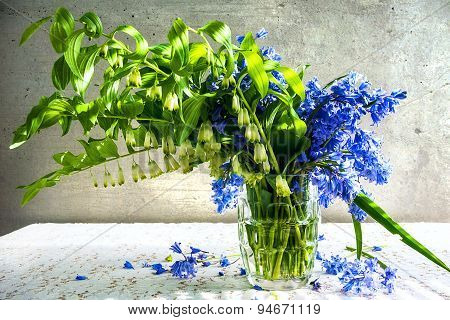 Still Life Bouquet Polygonatum Blue Tones