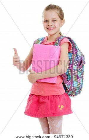 Girl schoolgirl book in hand
