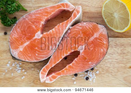 Upper View Of Two Salmon Steaks
