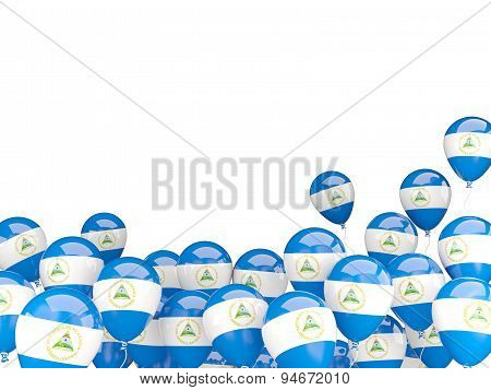 Flying Balloons With Flag Of Nicaragua