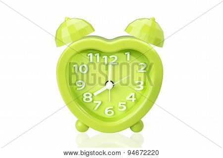 Green Alarm Clock On White Isolated Background With Clipping Path.