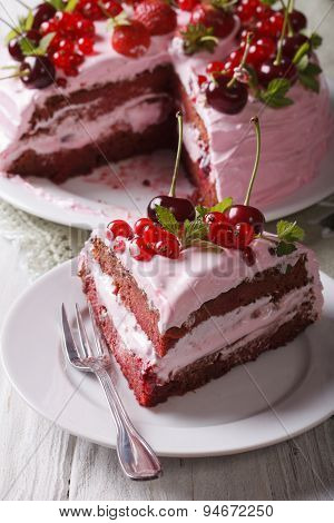 Slice Of Homemade Berry Cake With Pink Cream Vertical