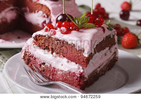 Piece Of Homemade Cake With Fresh Berries Close-up. Horizontal