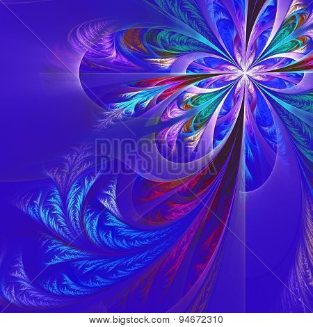 Diagonal Symmetric Multicolor Fractal Tracery. Collection - Frosty Pattern. On Blue.