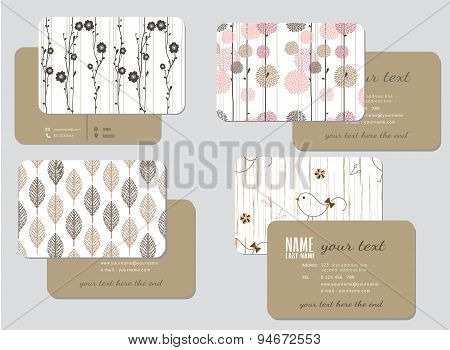 Business Card Template,  Wedding Style, Vector Illustration