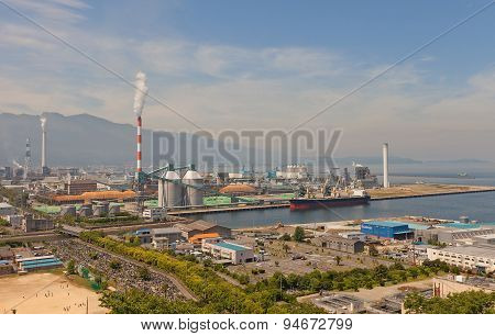View Of Paper Factory And Port, Shikokuchuo City, Japan