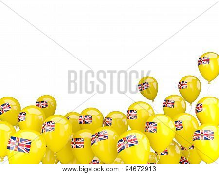 Flying Balloons With Flag Of Niue