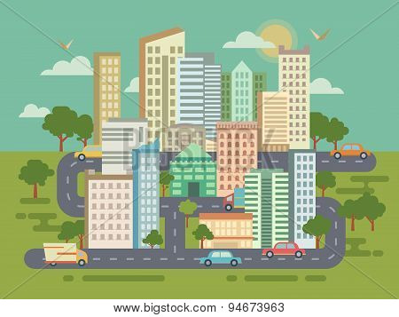City Landscape with Buildings Cars and Roads