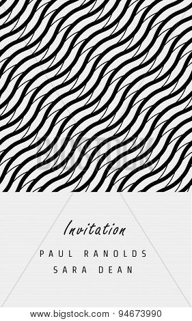 Vector minimal invitation card or ticket, monochrome geometric pattern templates. Ideal for Save The