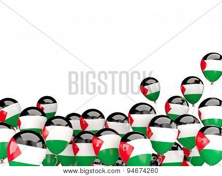 Flying Balloons With Flag Of Palestinian Territory