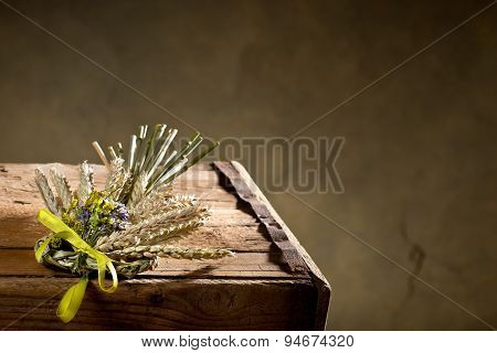 Bundle Of Wheat With Flower