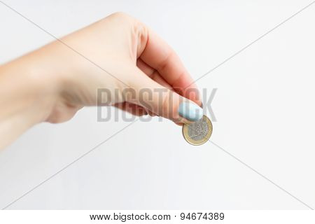 Hand Of Woman Giving Money