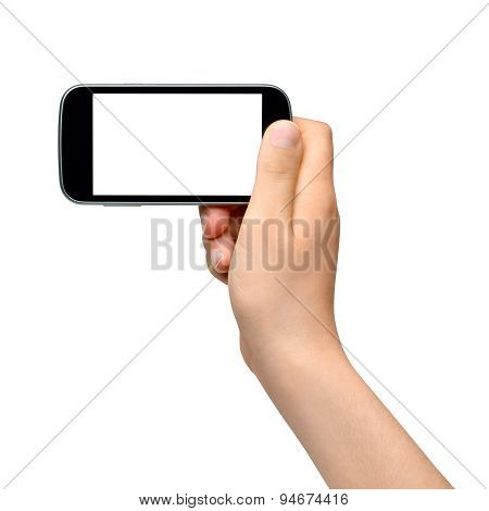 Young woman holding smartphone - isolated on white background