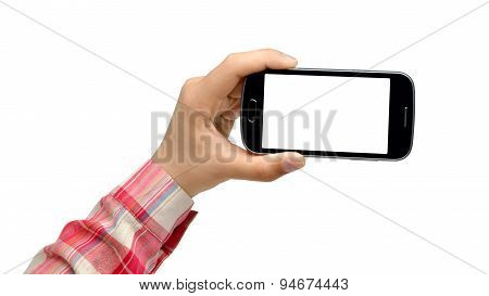 Teenage girl holding smartphone - isolated on white background
