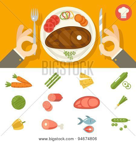 Hands cutlery Plate Food Icon Set Restaurant Promotion concept Symbol on Stylish Background Flat Des