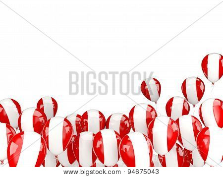 Flying Balloons With Flag Of Peru