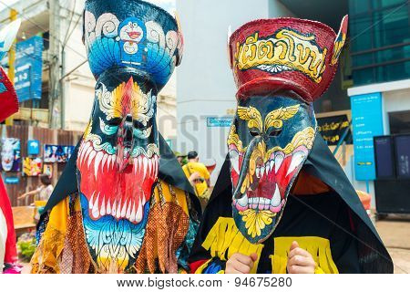 LOEI PROVINCE THAILAND-JUNE 27: Ghost Festival (Phi Ta Khon) Ghost masked celebrated on religious tradition of Boon Pra Wate at Dan Sai district Loei June 272015.